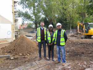 Left to Right: Cllr Matthew Bennett, Hassie Koromah, Lambeth Building Control Surveyor and James Millen, Sandwood Construction Director